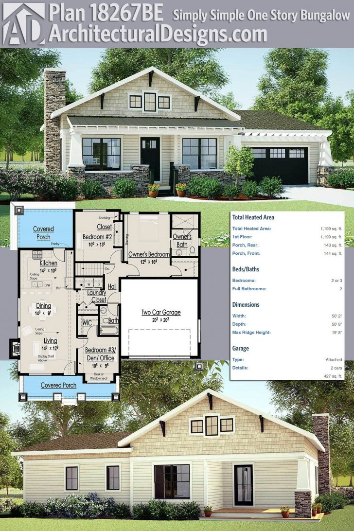 One Story House Plans with Porch 2021