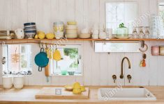 Above Sink Shelf Lovely Kitchenware On Shelf Above Sink Set In Wooden Worktop In
