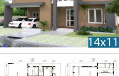 Free Home Design Plans Beautiful 4 Bedrooms Home Design Plan Size 14x11m