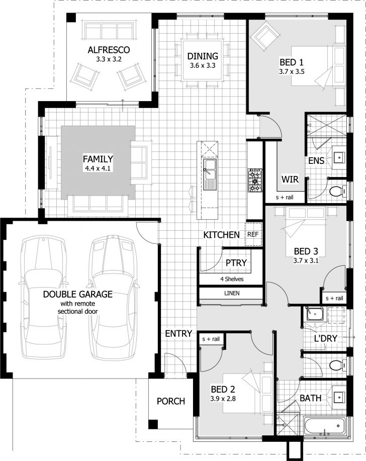 House Plans 3 Bedroom and Double Garage 2020