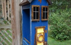 Saltbox House Pictures New Folk Art Primitive Bird Seed Feeder Saltbox House Rustic Country Blue Birdfeeder