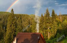A Beautiful House Image Awesome Beautiful House In Mountain With Forest And Double Rainbow