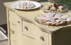 """Antique Furniture Rentals For Weddings Best Of Yellow """"wave"""" Dresser Used To Hold Desserts At Bridal Shower"""
