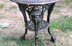 Antique Iron Outdoor Furniture Unique Antique Cast Iron Garden Table 71 Lbs 28 Inch Tall Top Diameter 23 Inch