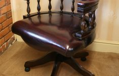 Antique Reproduction Office Furniture Beautiful Mahogany Captains Swivel Desk Chair Wine Leather Upholstery