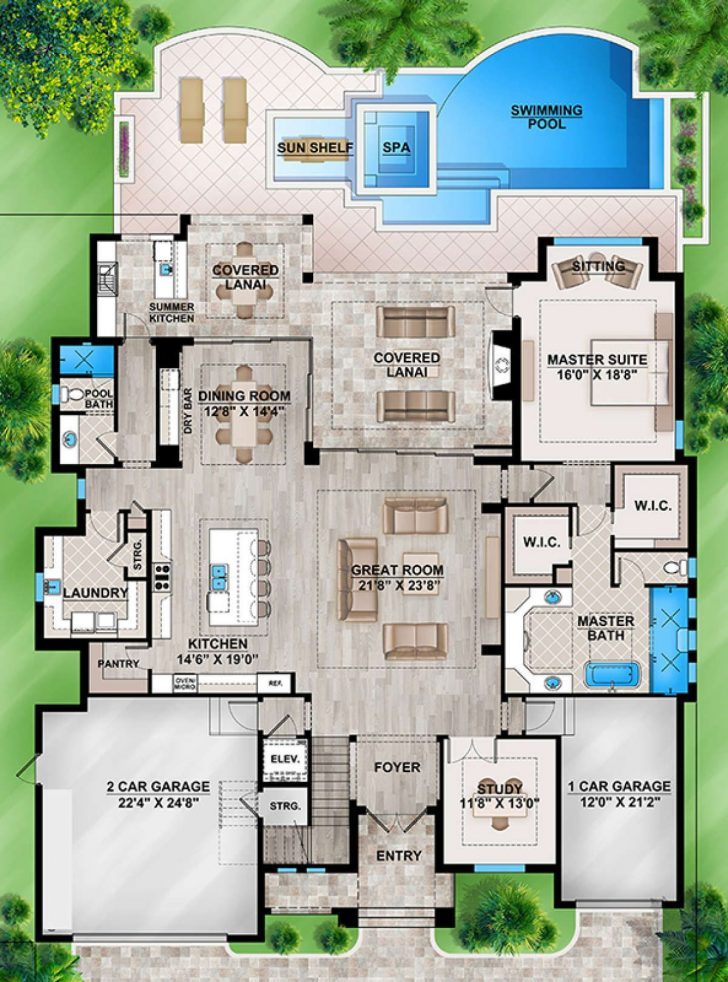 Florida House Plans with Pool 2021