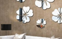 Hibiscus Flower Wall Stickers Beautiful 5 Pieces Hibiscus Flower Petals Crystal Mirror Wall Sticker