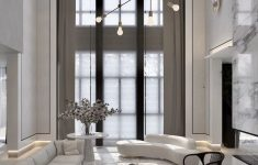 Modern High Ceiling Living Room New High Ceilings Black And White Interior