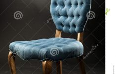 Antique And Vintage Furniture Luxury Antique Blue Velvet Chair Near A Dark Room Stock Image