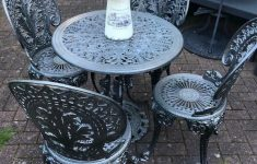 Antique Cast Iron Outdoor Furniture Luxury Vintage Cast Iron Garden Table Grey & 4 Chairs Parasol Stand Patio Set In Sutton Coldfield West Midlands