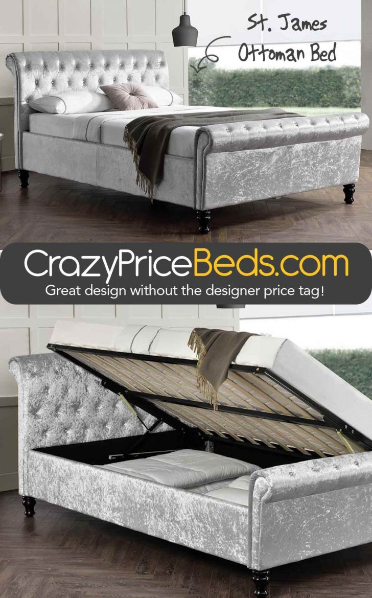 Chesterfield Fabric Sleigh Bed with Footboard 2020