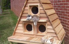 Insulated Cat House Plans Awesome Outdoor Cat House For 3 6 Cats Customizable Free
