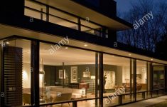 Modern House At Night Awesome Exterior Of Modern House Lit At Night Stock