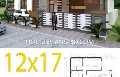 One Floor House Design Plans 3d Beautiful House Design 12x17 With 4 Bedrooms Terrace Roof