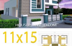 One Floor House Design Plans 3d Inspirational House Design 11x15 With 3 Bedrooms Terrace Roof House