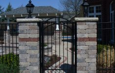 Front Gate With Roof Awesome Arched Aluminum Gate With Brick Pillars