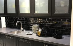 Glass Kitchen Cabinet Doors Inspirational Black Kitchen Cabinets With Subway Tiles And White Frosted