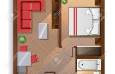 House Top View Design Luxury Vector Top View Illustration Of One Bedroom Apartment With Furniture
