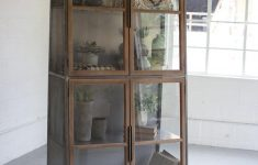 Small Cabinet With Glass Doors Unique Kalalou Metal & Wood Slanted Display Cabinet W Glass Doors