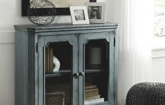 Accent Cabinet With Glass Doors Luxury Distressed Wooden Accent Cabinet With Glass Front Doors Storage Vintage Blue