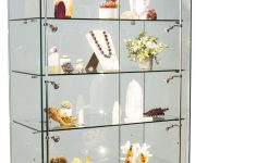"""Display Cabinets With Glass Doors Unique 36"""" Display Case W Led Lights Frameless Sliding Doors Ships Assembled Black"""