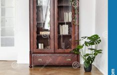 Floor Cabinet With Glass Doors Unique Monstera Plant Next To A Dark Wooden Display Cabinet With