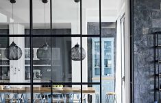 Interior Glass Wall Designs For Houses Beautiful Modern Monochrome Kitchen Diner With Blue Chairs And Pendant