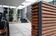 Modern Gate Design For House Beautiful Wooden Gate And The Modern Carport For The Moder House
