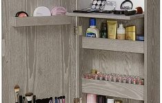 Over The Door Cabinet Beautiful Abington Lane Over The Door Makeup Organizer Beauty Armoire With Led Lights And Stowaway Mirror Heathered Grey Finish Includes Wall Mounted
