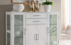 Storage Cabinet With Glass Doors New Kings Brand Kitchen Storage Cabinet Buffet With Glass Doors White