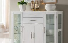 Cabinet Glass Doors Awesome White Wood Kitchen Buffet Display Cabinet With Storage Drawers & Glass Doors