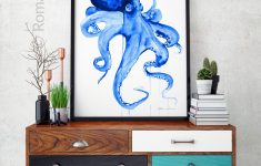 Octopus Bathroom Decor Lovely Blue Octopus Watercolor Painting Nautical Bathroom Art
