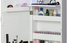 Over The Door Storage Cabinet Lovely Abington Lane Over The Door Makeup Organizer Beauty Armoire With Led Lights And Stowaway Mirror White Finish Includes Wall Mounted Option