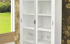 White China Cabinet With Glass Doors Unique Cast Display Cabinet