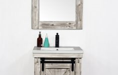 "Barn Door Bathroom Cabinet Lovely 24""rustic Solid Fir Barn Door Style Vanity In White Wash With Ceramic Single Sink No Faucet"