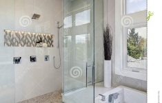 Contemporary Walk In Shower New Luxury Bathroom Interior With Walk In Shower Stock