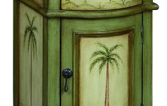 One Door Cabinet Elegant Treasure Trove E Drawer E Door Cabinet In A Largo Green And Cream Finish With Palm Tree Décor