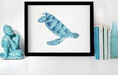 Sea Turtle Bathroom Decor Elegant Watercolor Sea Turtle Painting Perfect For A Beach House Or