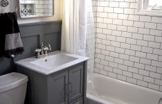 Decorative Tiles For Bathroom Elegant Small Grey And White Bathroom Renovation Update Subway Tile