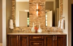 Double Sink Bathroom Decorating Ideas Awesome Corner Double Sink Vanity Cabinet With Brown Varnished Oak