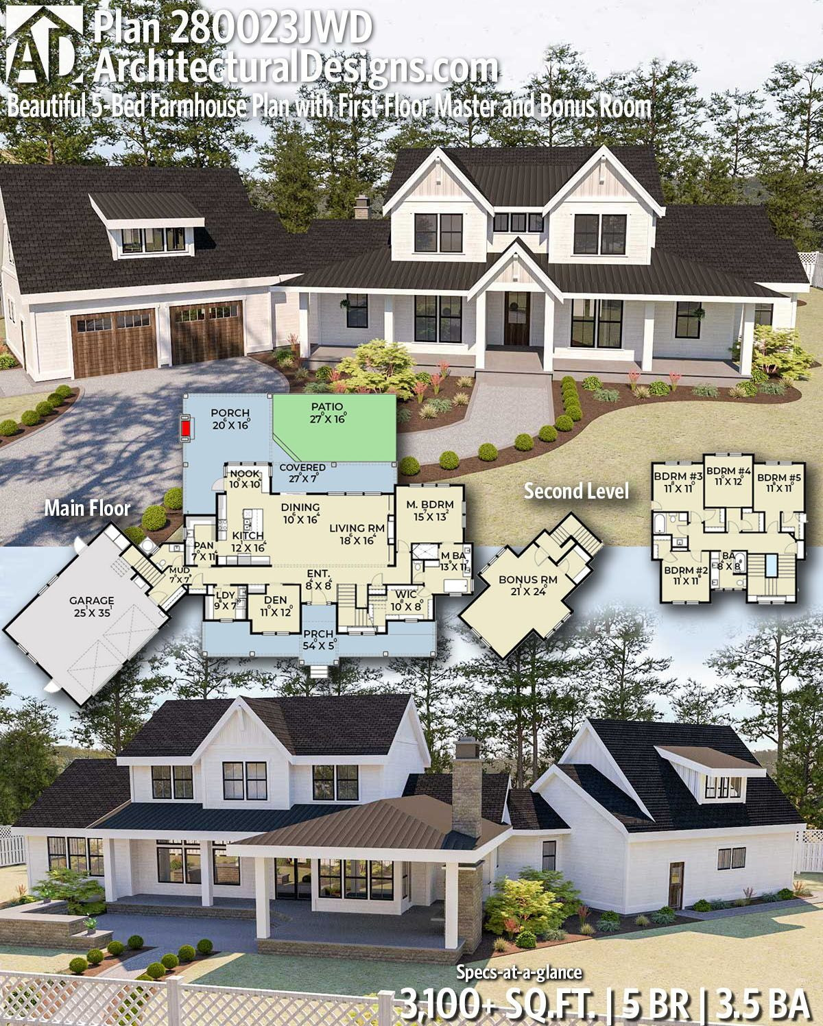 100 000 Square Foot House Awesome Plan Jwd Beautiful 5 Bed Modern Farmhouse Plan with