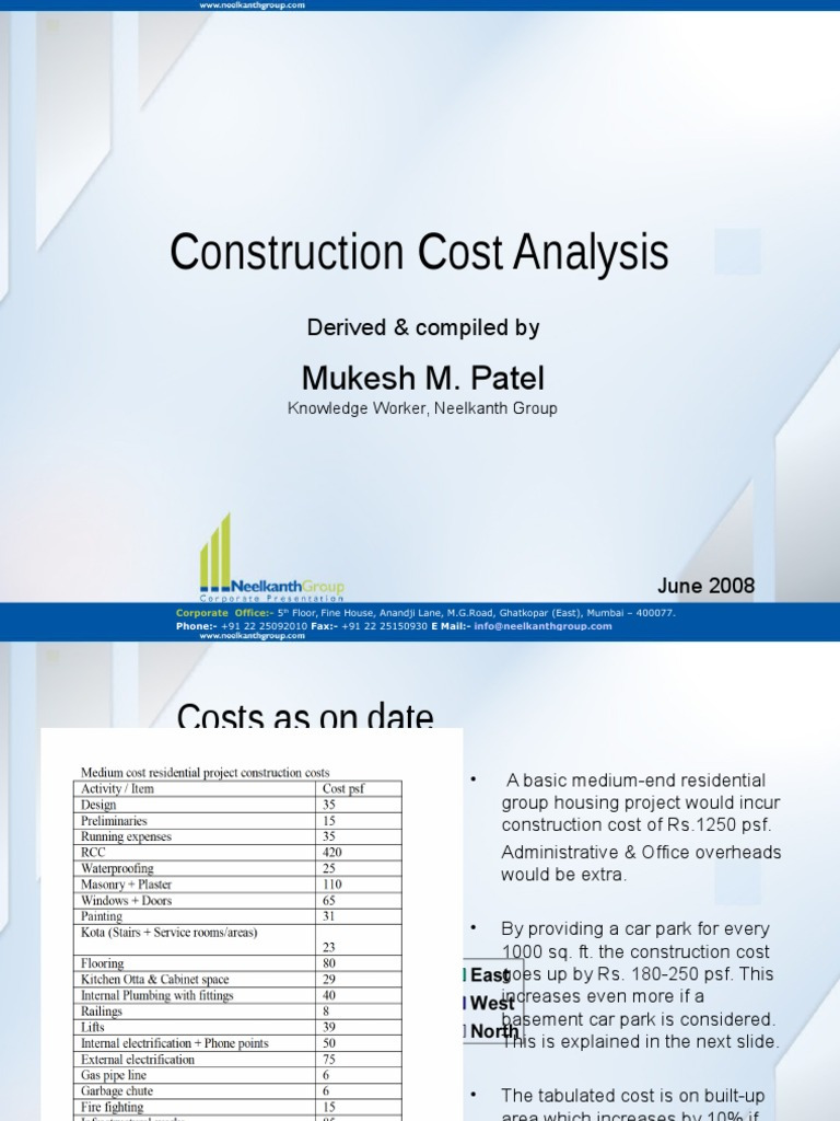 1000 Sq Ft House Construction Cost Fresh Construction Cost Analysis In Residential Sector