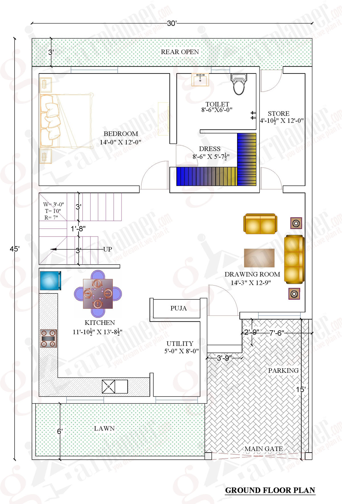 1000 sqft home plan