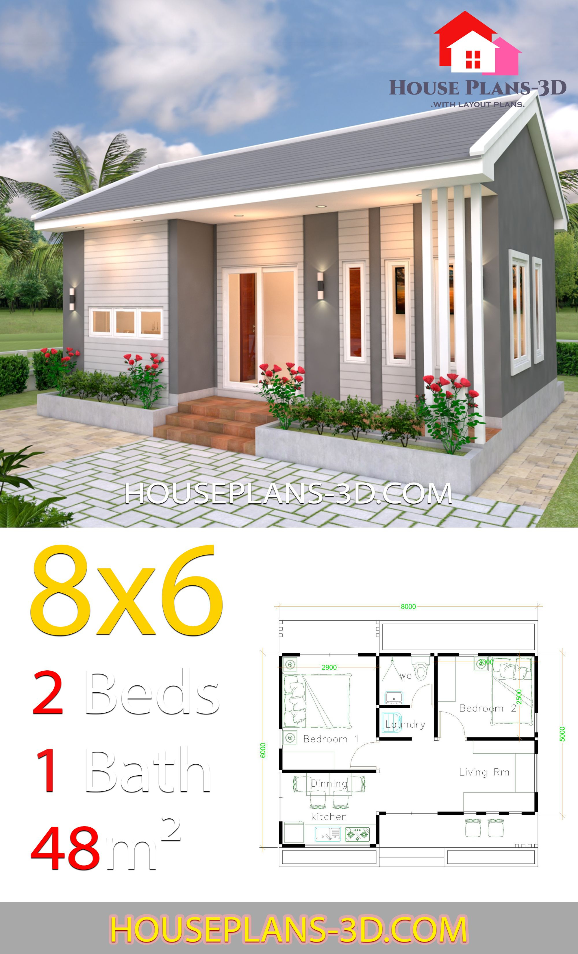 2 Bedroom House Designs Pictures Inspirational House Design Plans 8x6 with 2 Bedrooms House Plans 3d