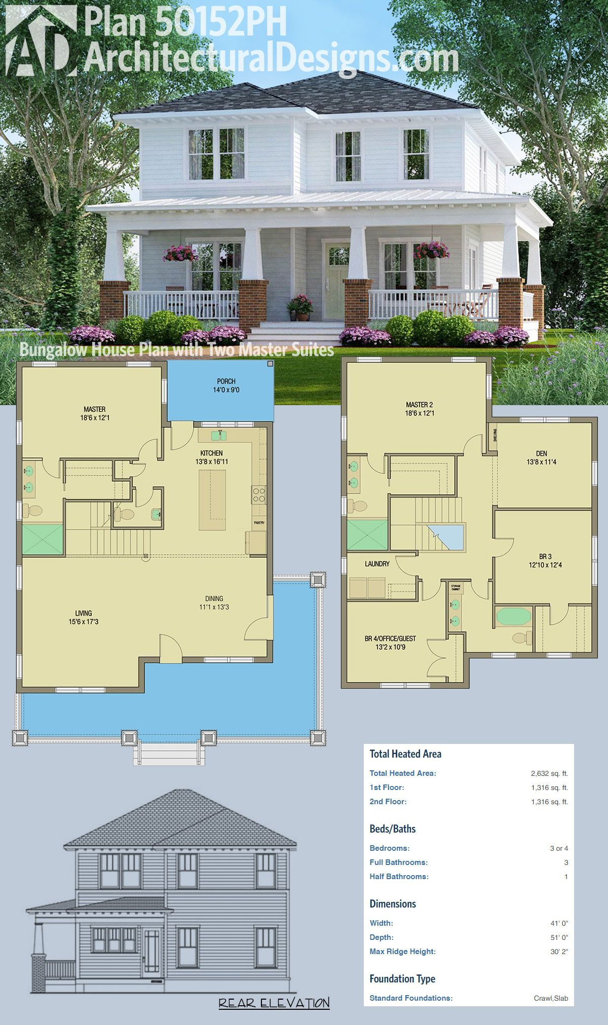 2 Bedroom House Plans with 2 Master Suites Inspirational Plan Ph Bungalow House Plan with Two Master Suites