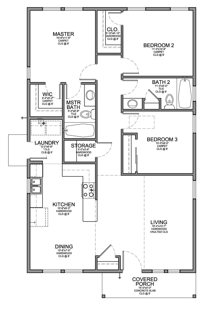 3 Bedroom House Plans Unique Floor Plan for A Small House 1 150 Sf with 3 Bedrooms and 2