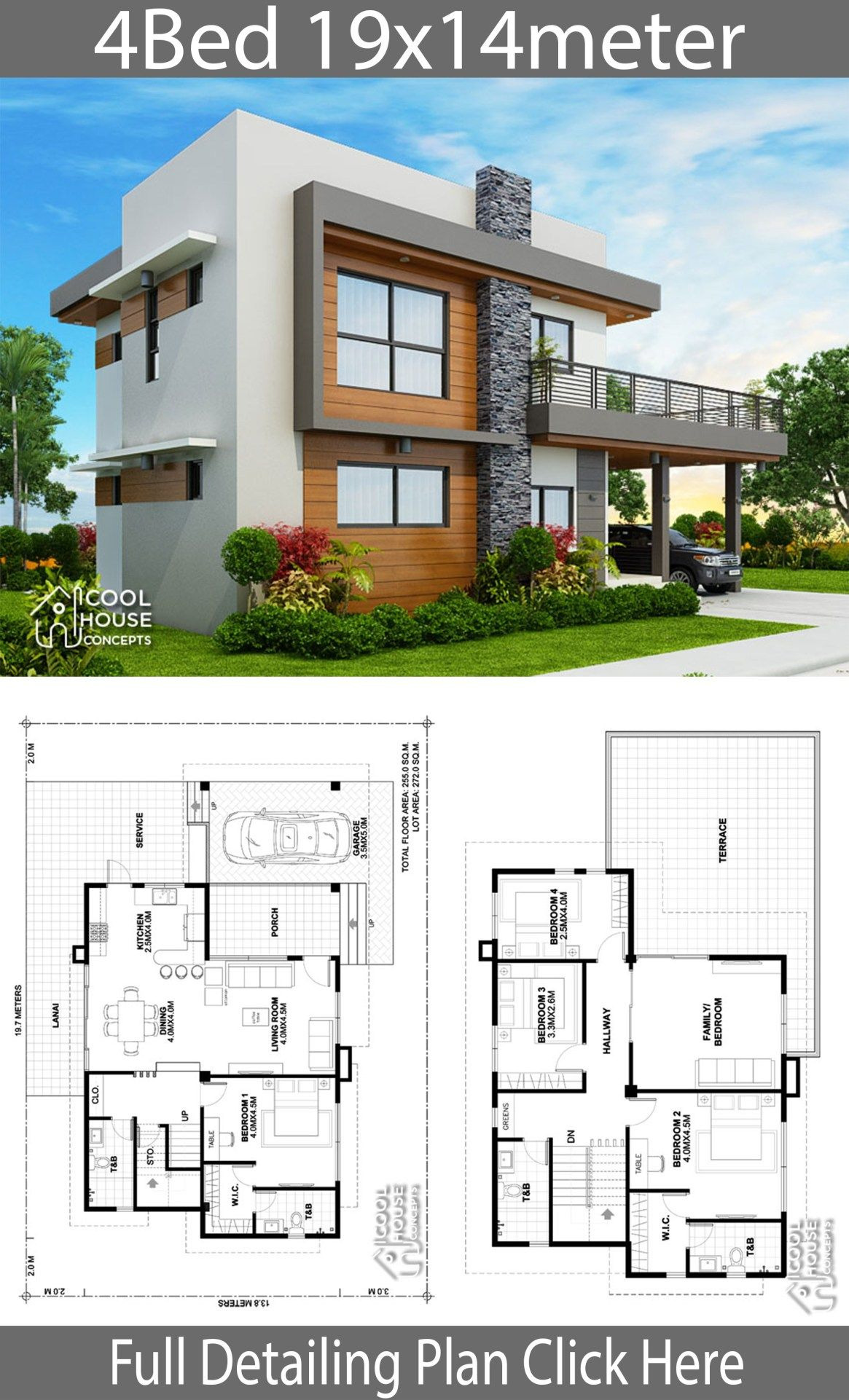 4 Bedroom House Designs Fresh Home Design Plan 19x14m with 4 Bedrooms