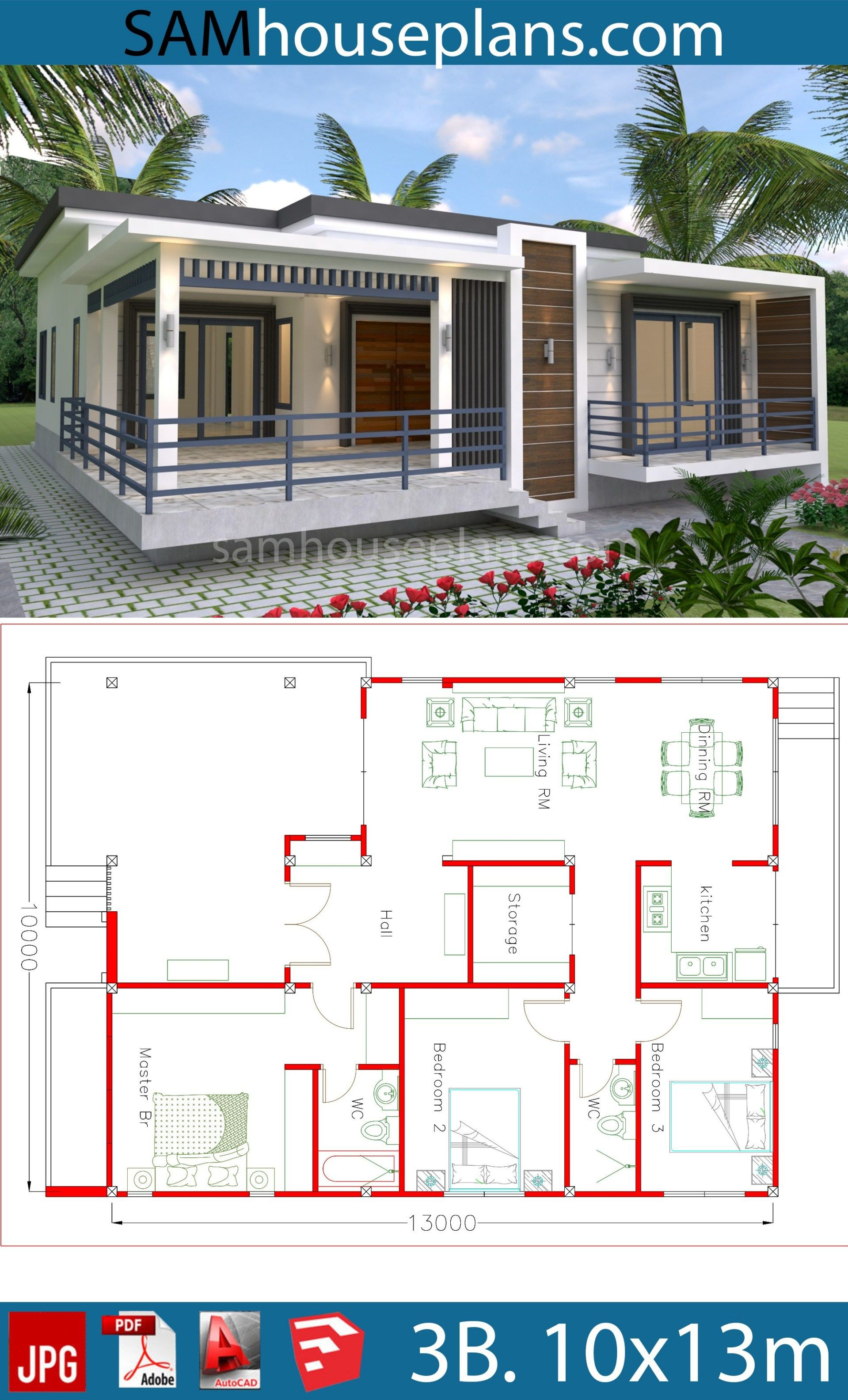 Beautiful House Plans with Photos Elegant House Plans 10x13m with 3 Bedrooms