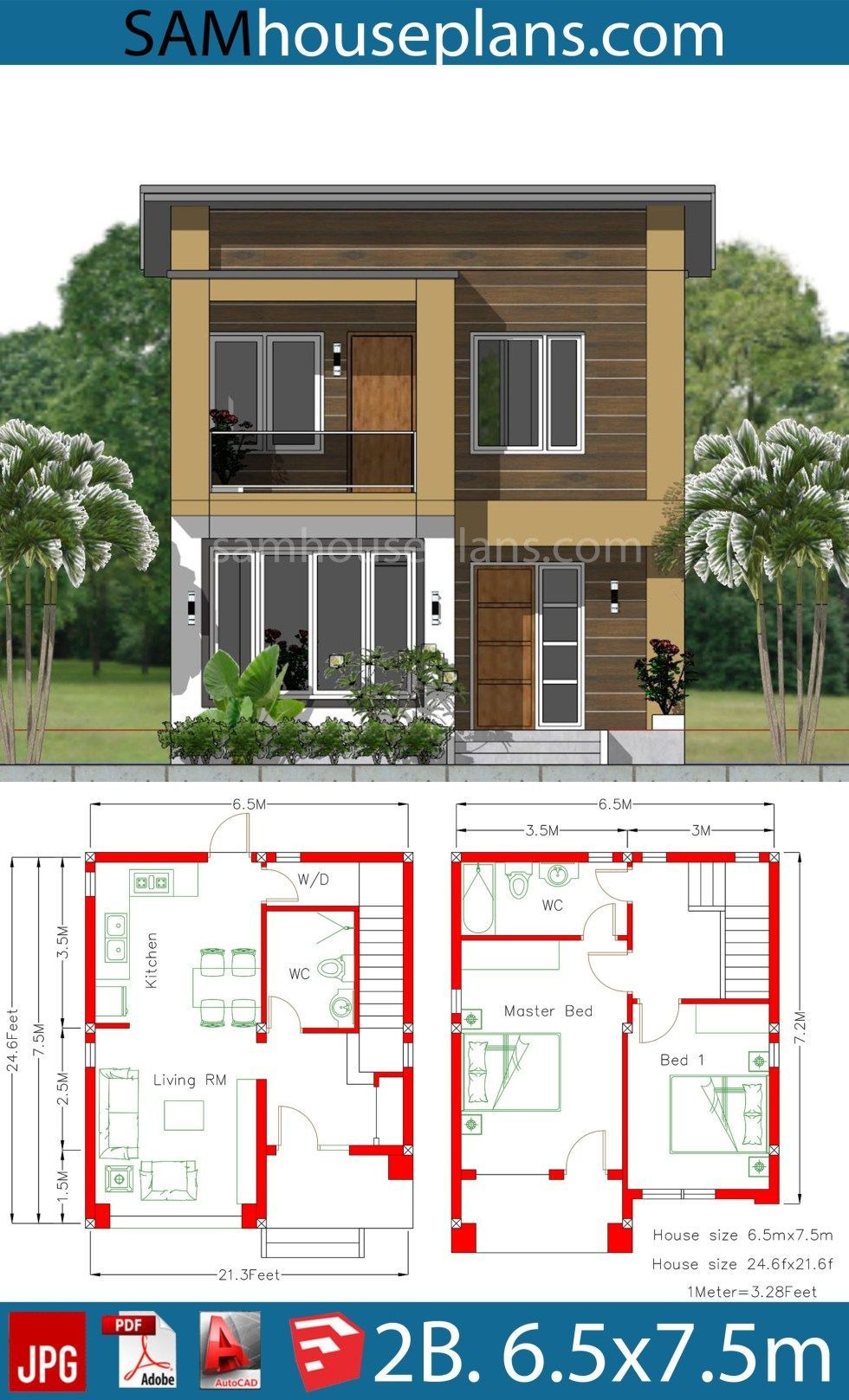 Beautiful House Plans with Photos New House Plan 6 5x7 5m with 2 Bedrooms A2 Sam House Plans In