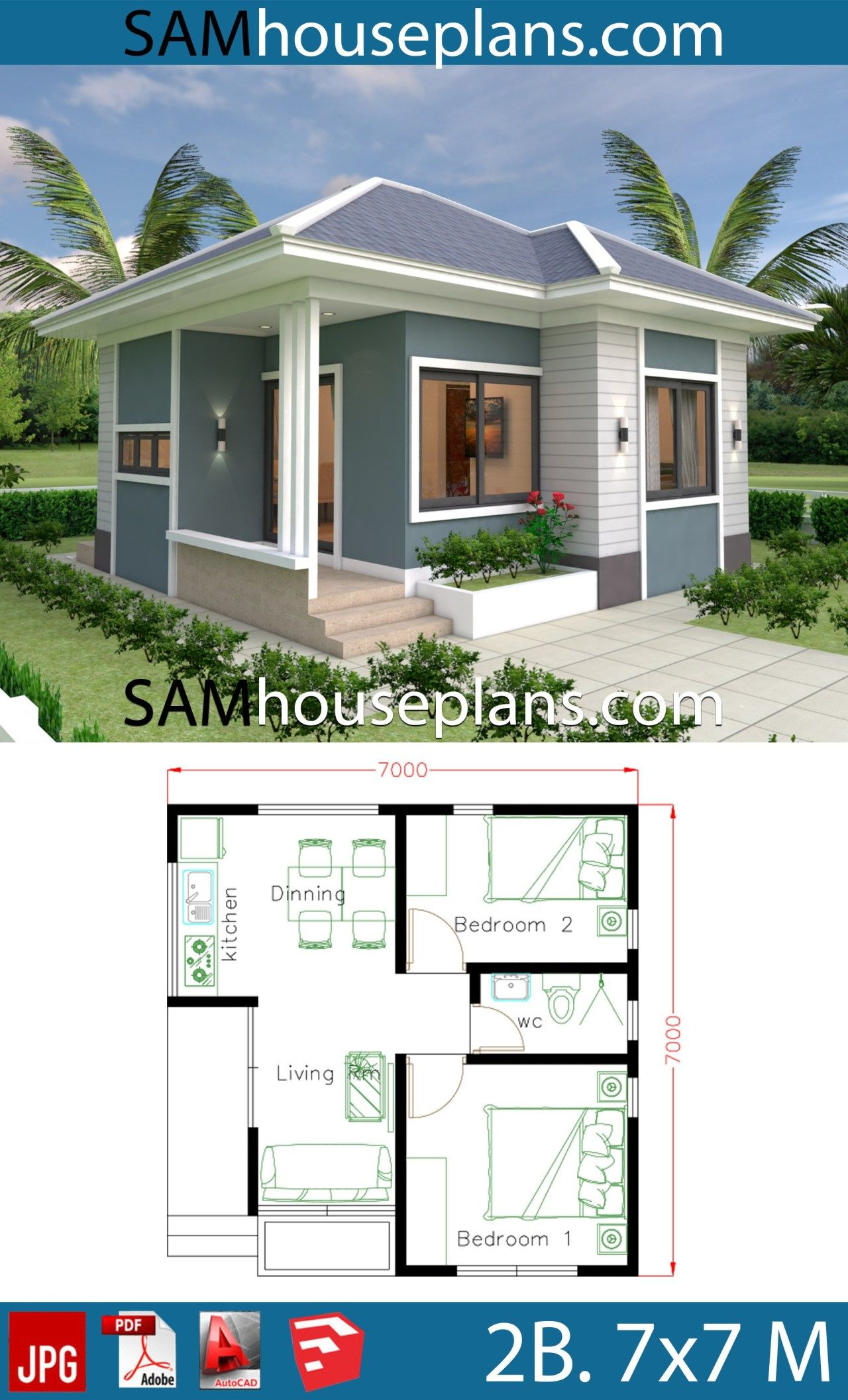 Best Small House Plans Inspirational Small House Design Plans 7x7 with 2 Bedrooms In 2020